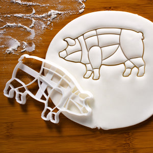 Butcher Pig Chart Cookie Cutter pressed on fondant