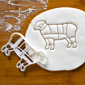 Butcher Lamb Chart Cookie Cutter pressed on fondant