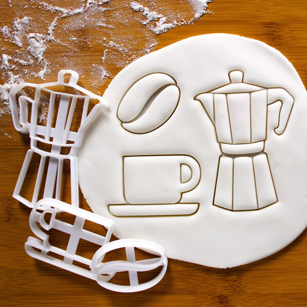 set of 3 coffee themed cookie cutters, featuring a moka pot, coffee bean and coffee cup cookie cutters