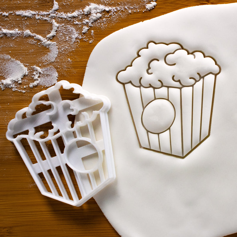 Popcorn Cookie Cutter pressed on fondant