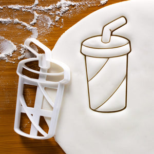 Soft Drink Cookie Cutter pressed on fondant