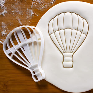 hot air balloon cookie cutter pressed on fondant