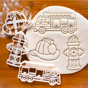 Set of 3 Firefighting Cookie Cutters: Fire Truck, Fire Hydrant & Fire Fighter's Helmet
