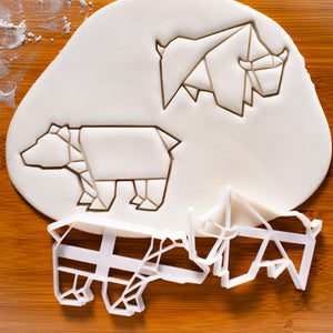 Set of 2 origami bear and bull cookie cutters
