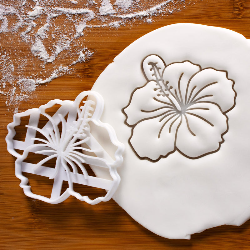 Hibiscus Cookie Cutter pressed on fondant