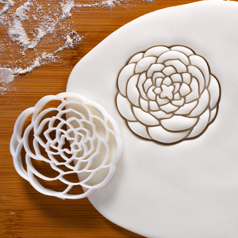 Camellia Flower cookie cutter (Complex design) pressed on fondant