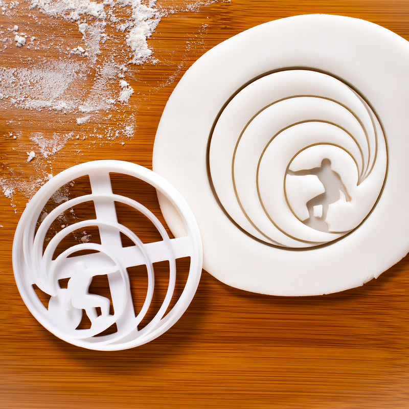 surfer riding waves cookie cutter