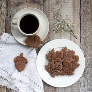 chocolate maple leaves cookies on a plate