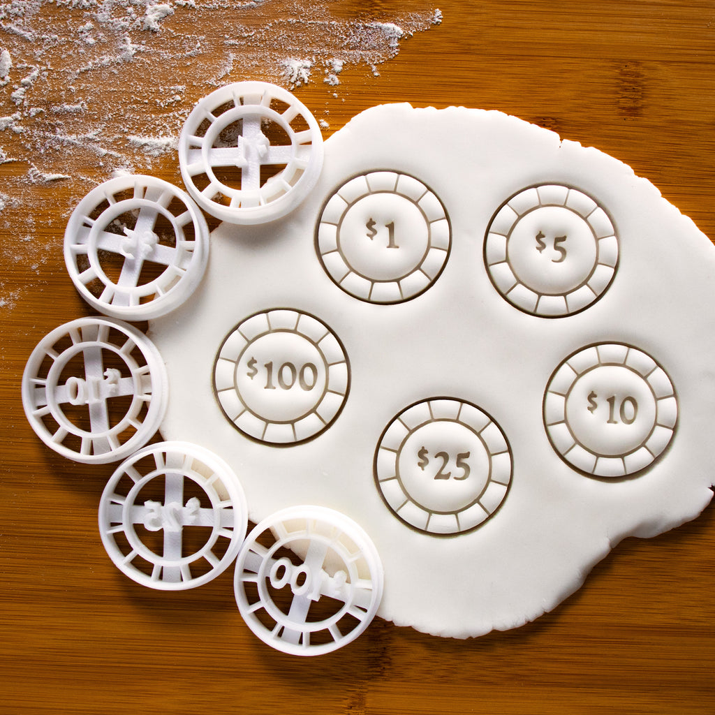 set of 5 poker chip cookie cutters