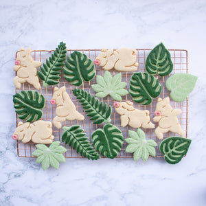 set of 4 yoga pig cookies - warrior pose, balasana, upward facing