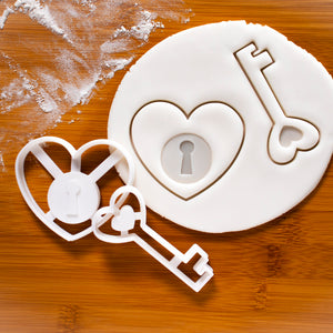 heart lock and key cookie cutters