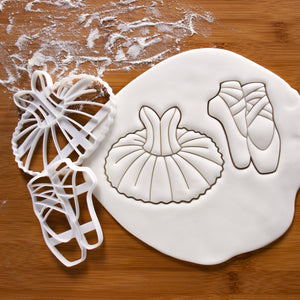 ballet shoe and tutu dress cookie cutters