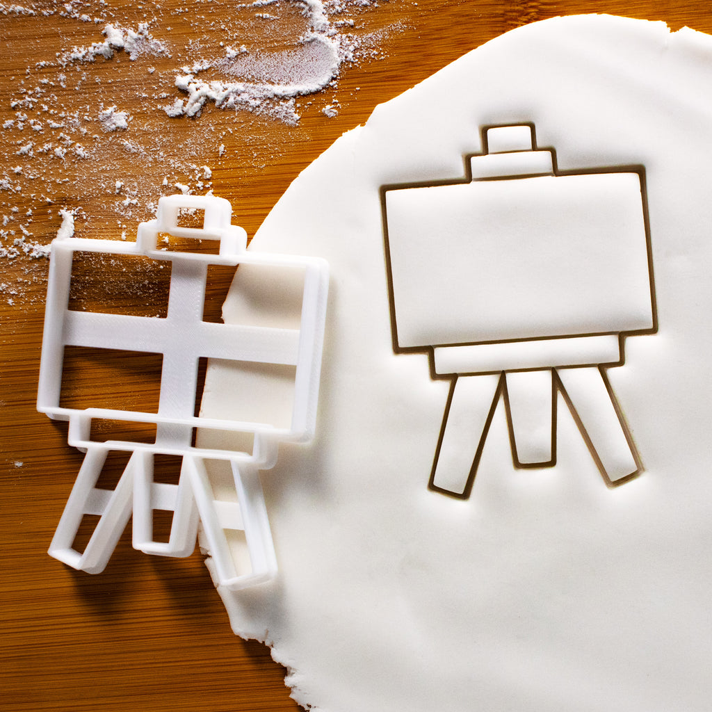 Easel Stand Cookie Cutter pressed on fondant