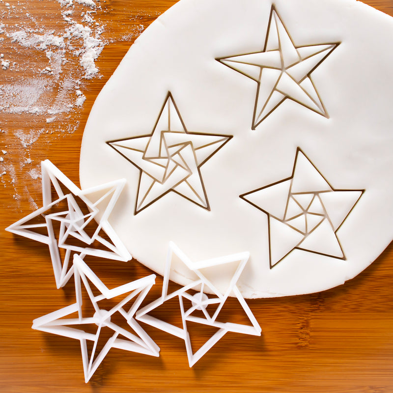 Set of 3 5-Sided Origami Star Cookie Cutters