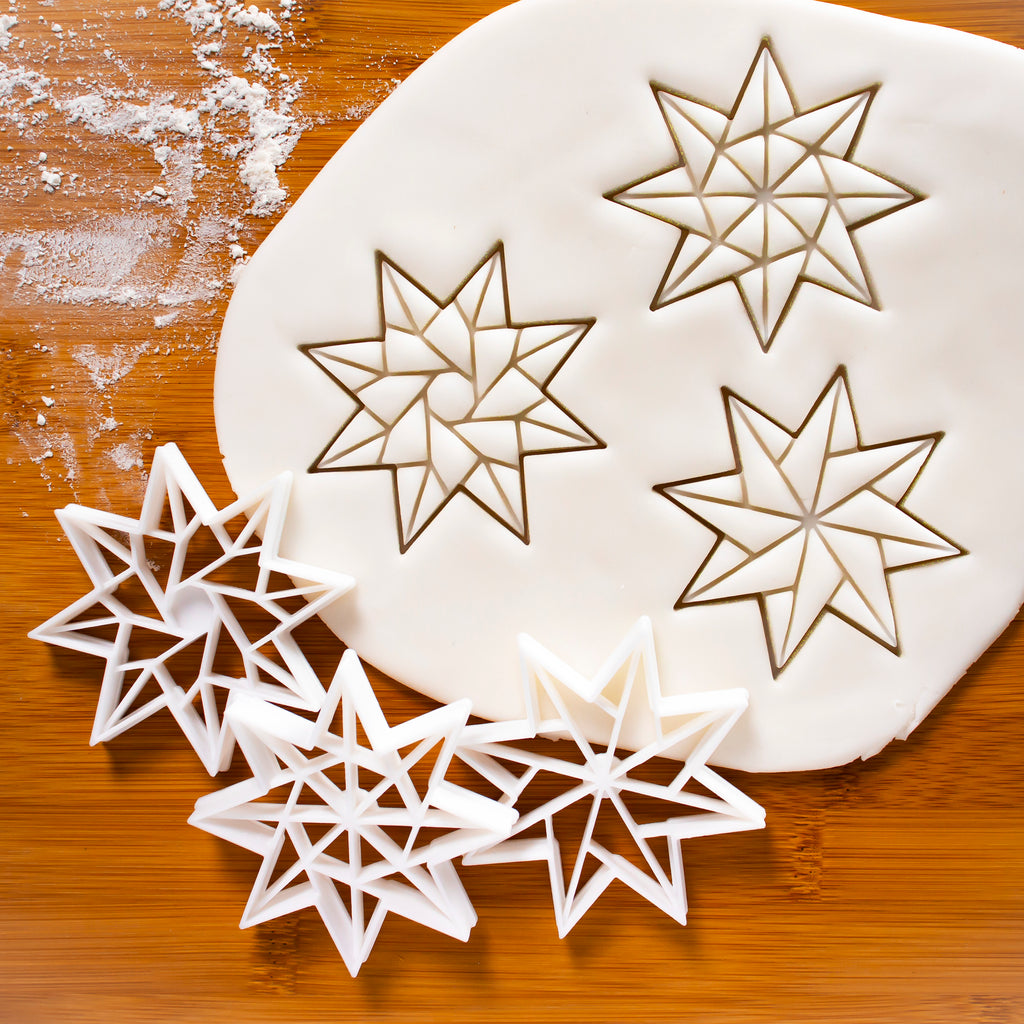 Set of 3 8-Sided Origami Star Cookie Cutters