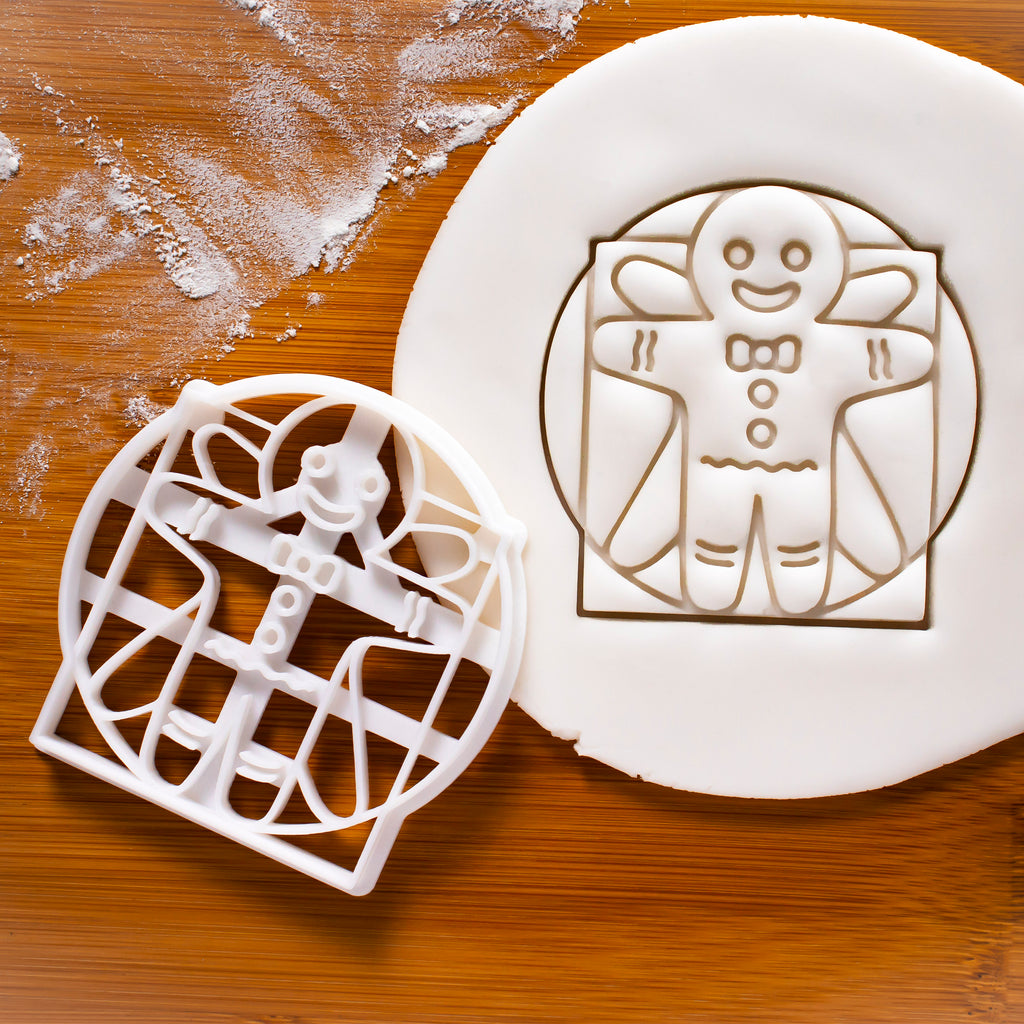 Vitruvian gingerbread man cookie cutter