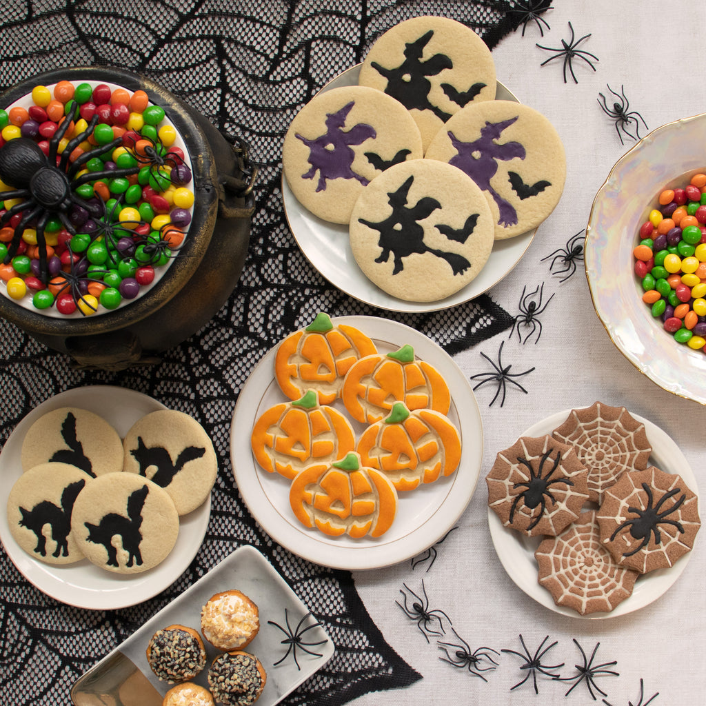 set of 3 halloween themed cookie: pumpkin jack o lantern, halloween witch and halloween cat