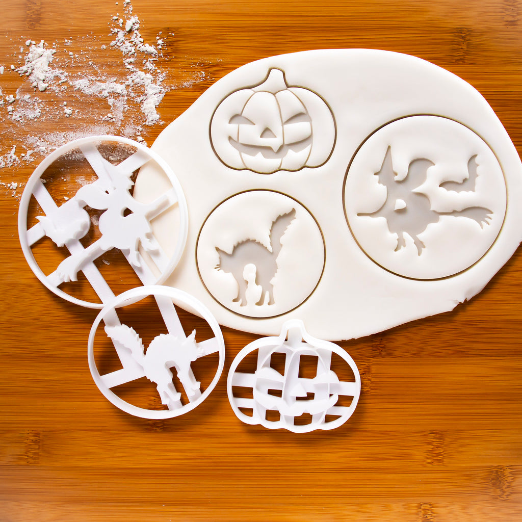 set of 3 halloween themed cookie cutters: pumpkin jack o lantern, halloween witch and halloween cat
