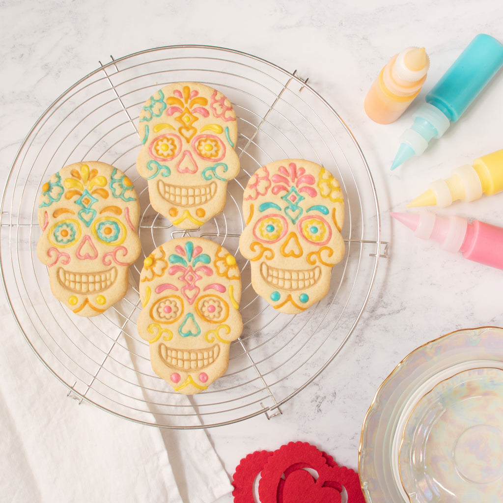 day of the dead floral skull cookies