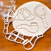 set of 3 sherlock holmes cookie cutters: Deerstalker hat, magnifying glass, and smoke pipe
