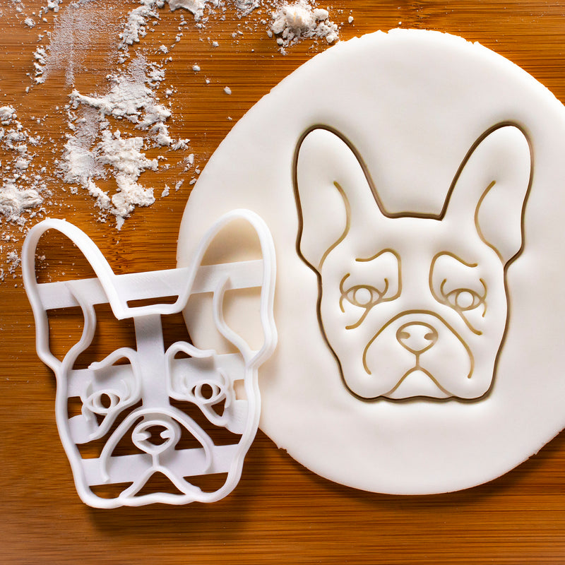 french bulldog face portrait cookies