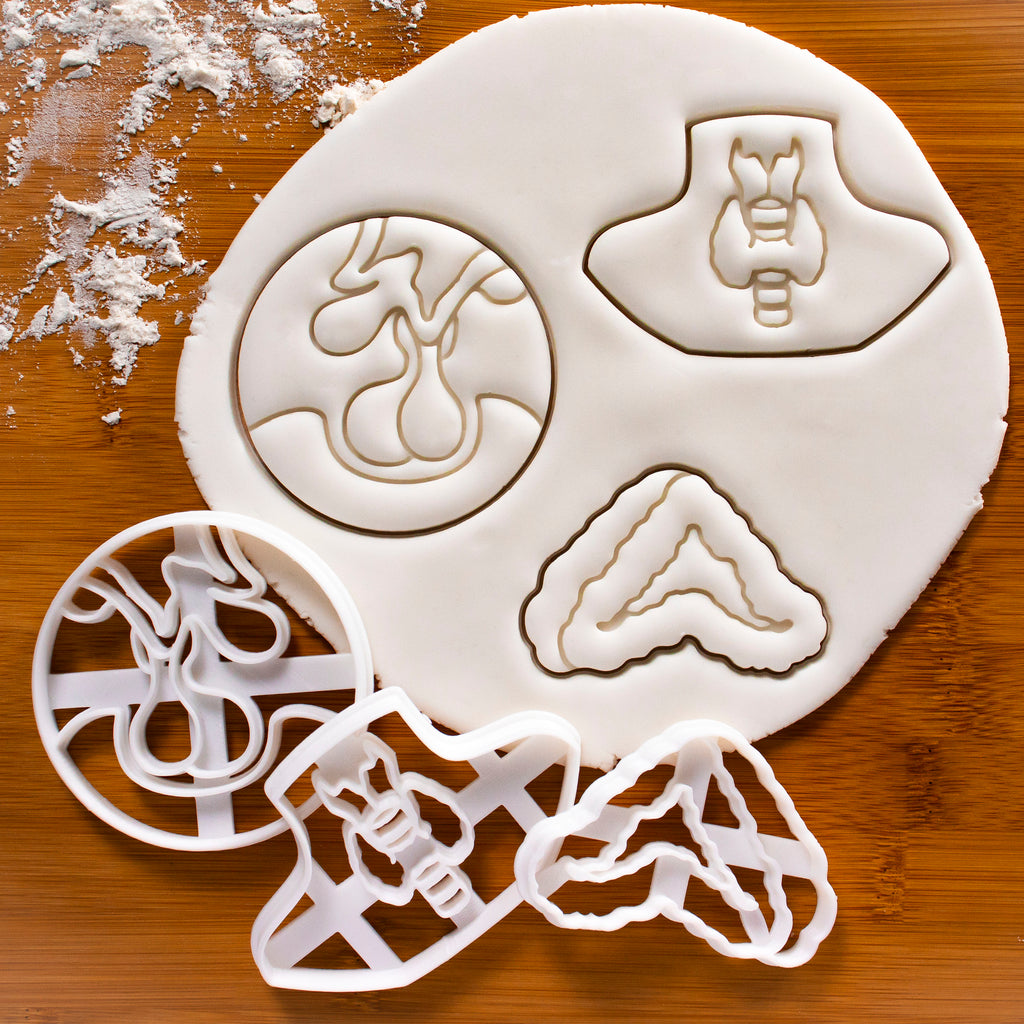 Set of 3 Cookie Cutters: Thyroid, Pituitary and Adrenal Glands