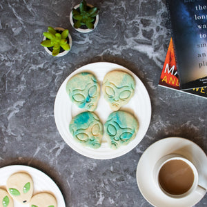 grey alien halloween cookies