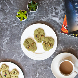 reptilian alien halloween cookies