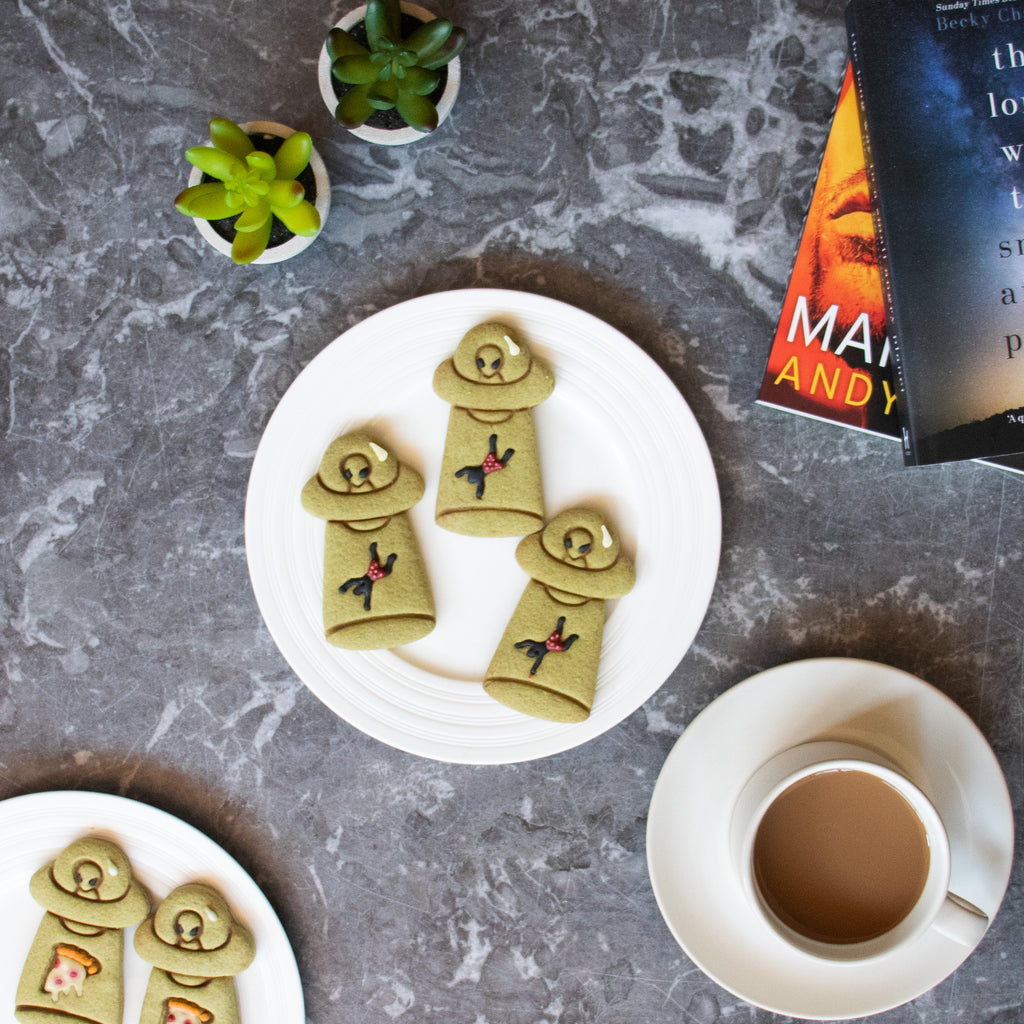 ufo abduct man matcha halloween cookies