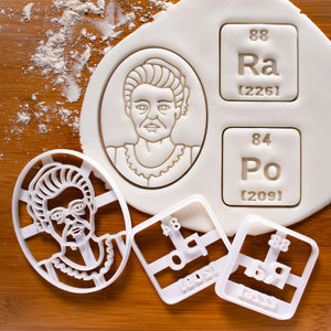 Set of 3 Cookie Cutters: Marie Curie, Radium & Polonium Periodic Table Elements