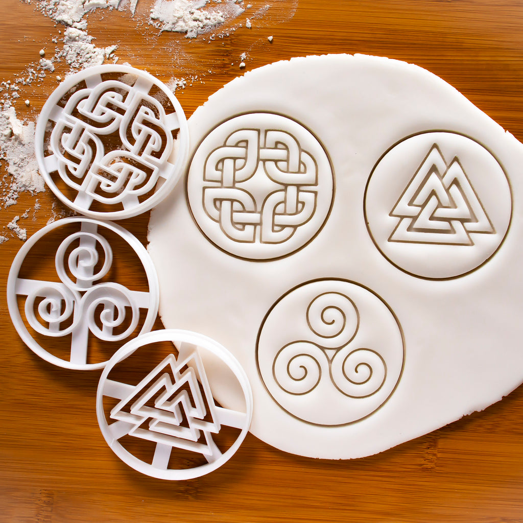 Set of 3 Nordic Runes Cookie Cutters: Celtic Shield Knot, Triskelion, & Valknut