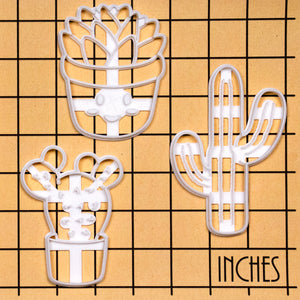 Set of 3 Cookie Cutters: Tall Cactus, Prickly Pear, & Kawaii Succulent