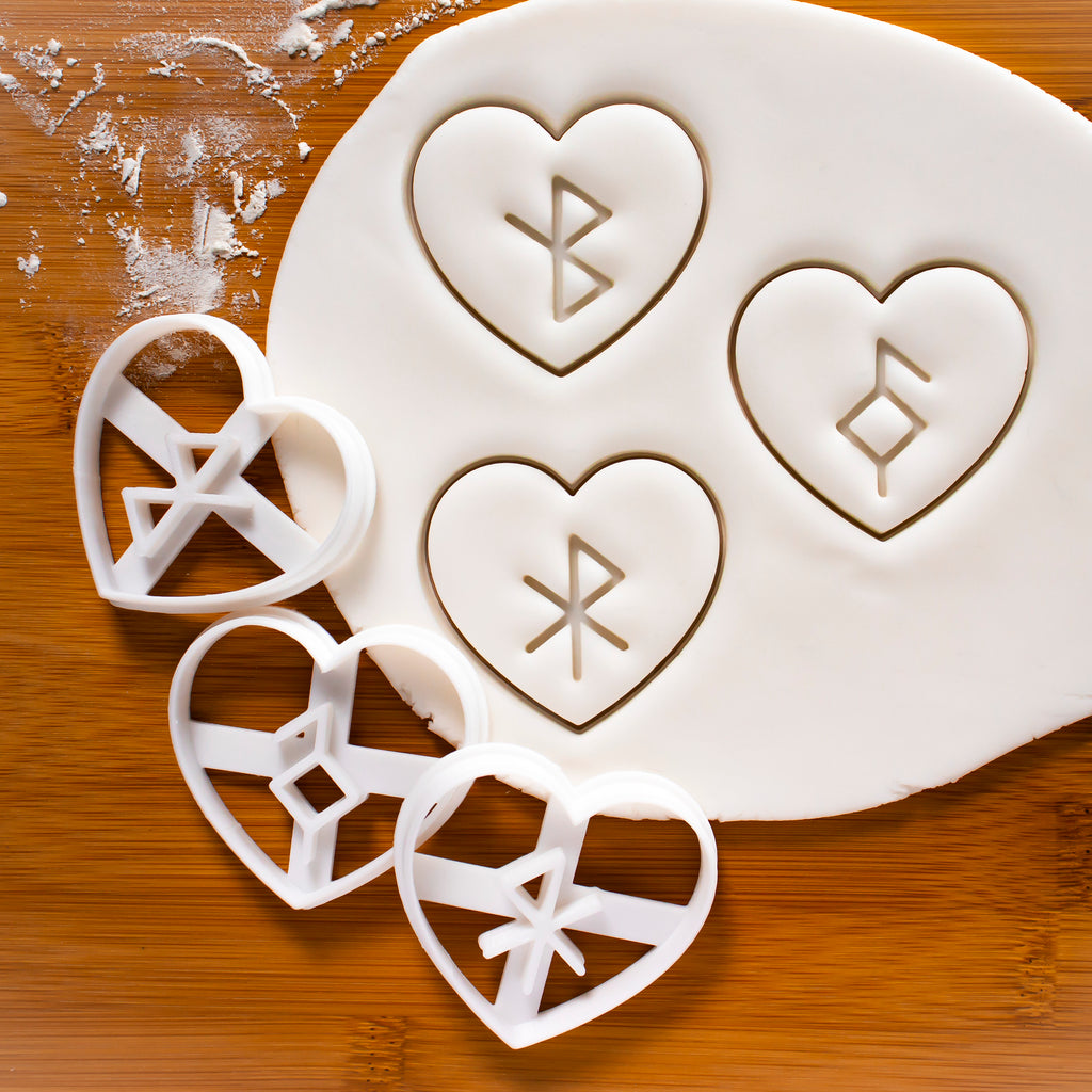 Set of 3 Nordic Rune Cookie Cutters: Healing, Good Health, & Love