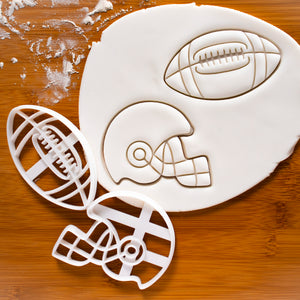 Set of 2 American Football & Helmet Cookie Cutters