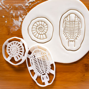 Set of 2 Cookie Cutters: Ammonite & Trilobite