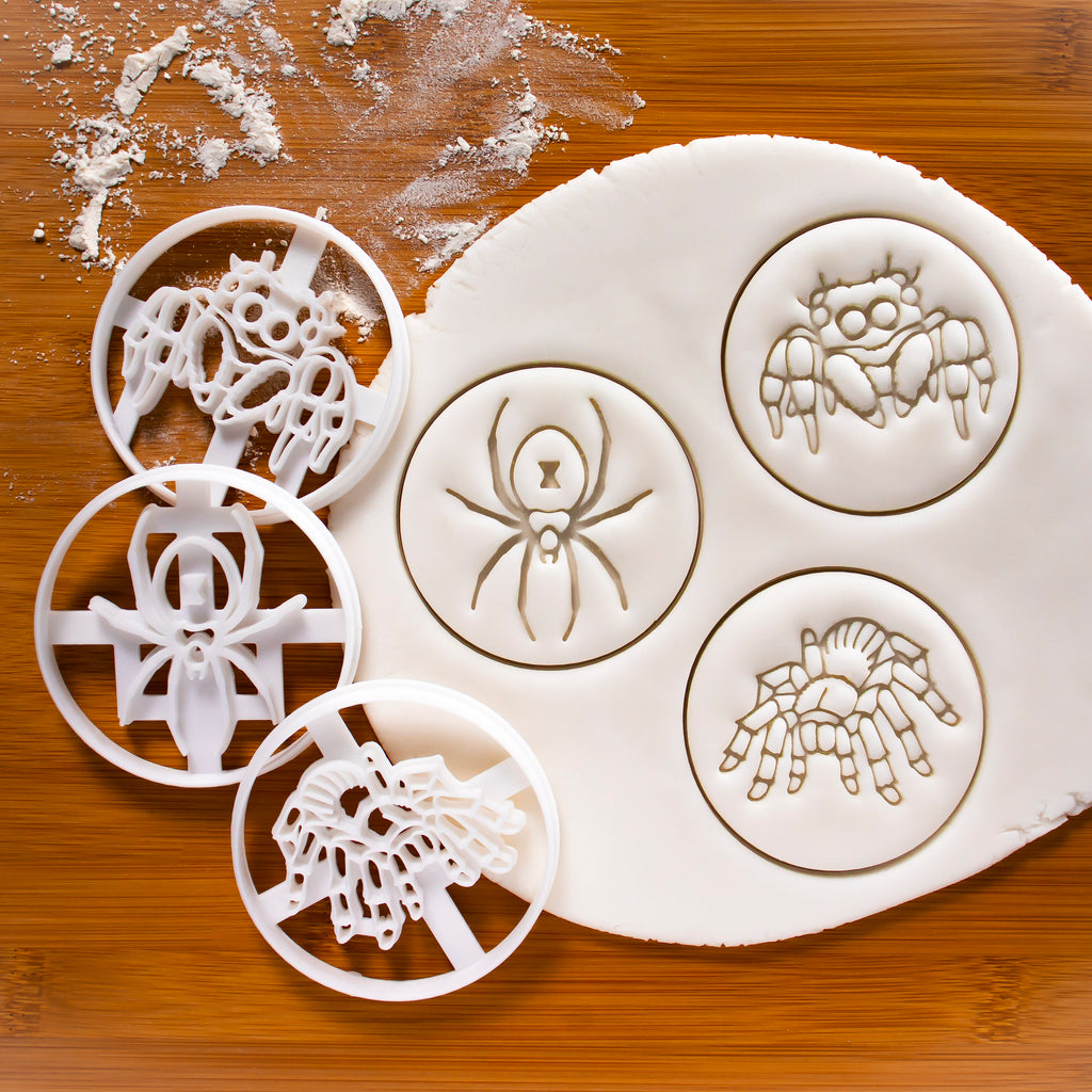 Set of 3 Cookie Cutters: Black Widow, Jumping Spider & Tarantula