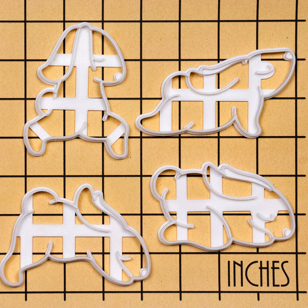 Set of 4 Yoga Bunny Cookie Cutters