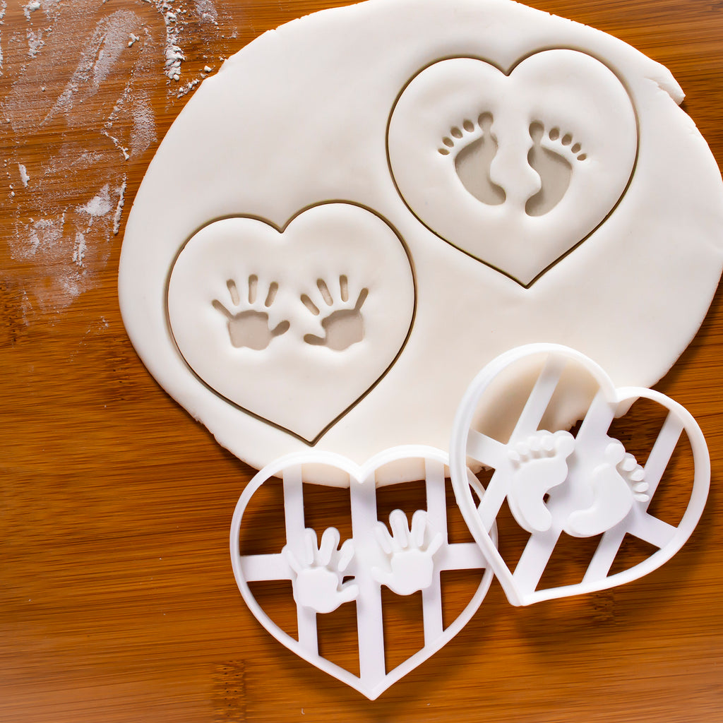 Set of 2 Baby Prints Cookie Cutters: Hand Prints & Footprints