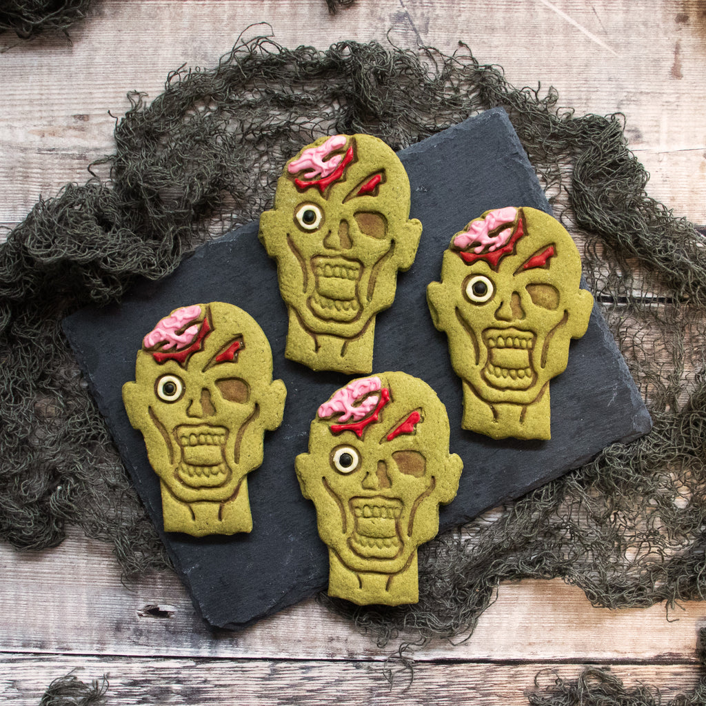 zombie head matcha cookies