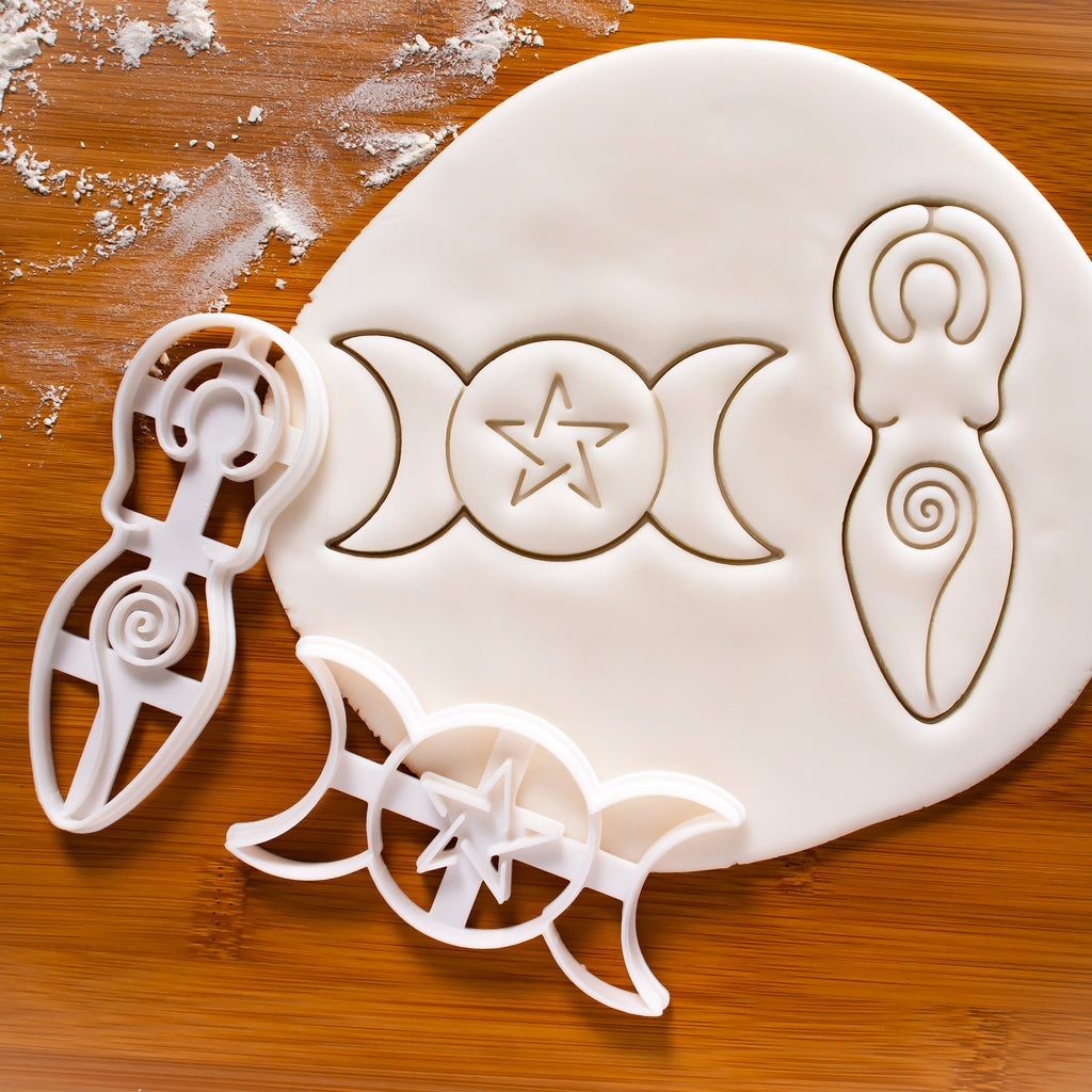 Set of 2 Cookie Cutters: Triple Goddess & Spiral Goddess
