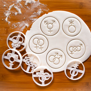 Set of 5 LGBTQ Symbol Cookie Cutters (Lesbian, Gay, Bisexual, Transgender, and Genderqueer)