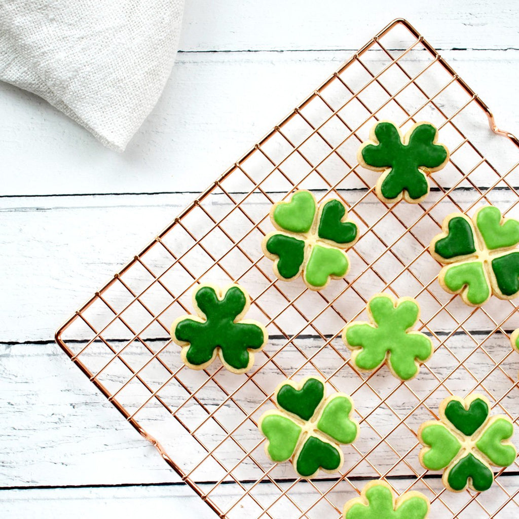 three leaf four leaf clover cookies