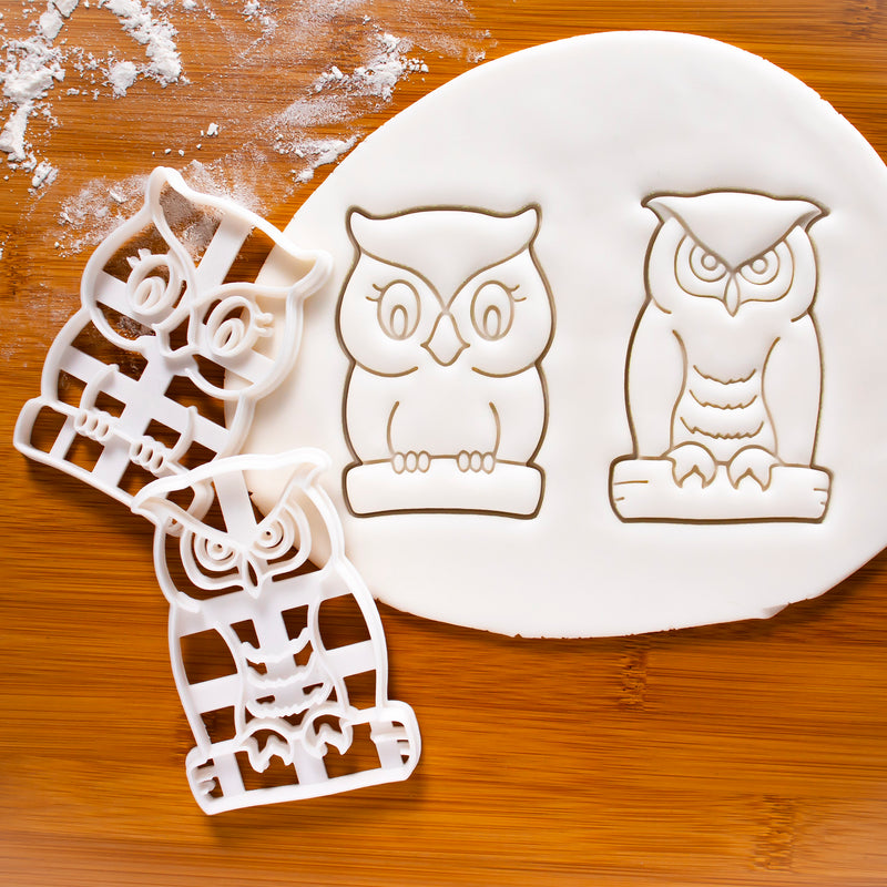 set of 2 owl cookie cutters, great horned owl and cute owl