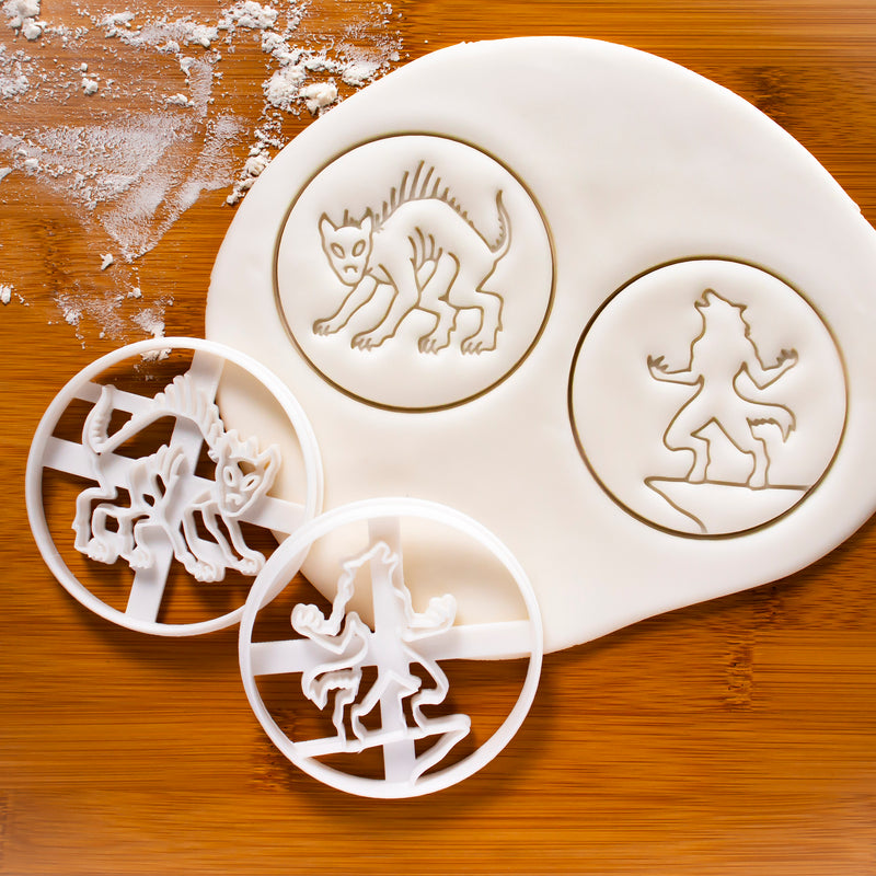 Set of 2 Legendary Creatures Cookie Cutters: Chupacabra Cookie Cutter & Werewolf Cookie Cutter