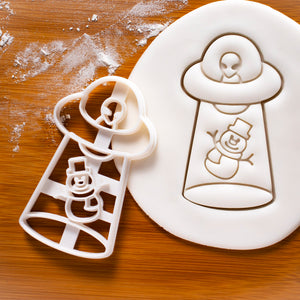 UFO Snowman Abduction Cookie Cutter