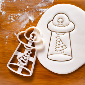 UFO christmas tree abduction cookie cutter