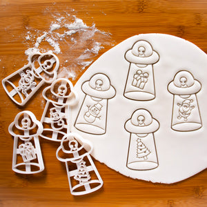 Set of 4 UFO Christmas Abduction Cookie Cutters (Abducts Santa Claus, Present, Snowman, and Xmas Tree)