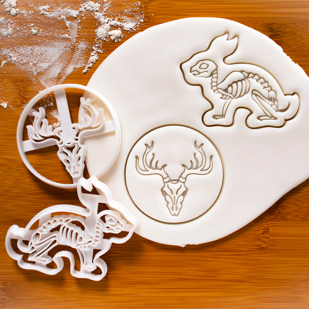 Stag Skull Cookie Cutter & Rabbit Skeleton Cookie Cutter