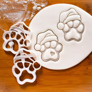 Set of 2 Santa Claus Paw Prints Cookie Cutters