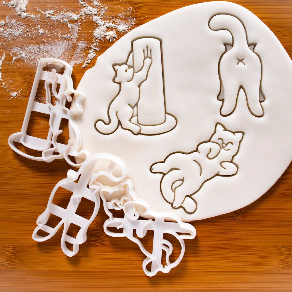 Set of 3 Kitty Body Language Cookie Cutters, scratch, roll, and butt